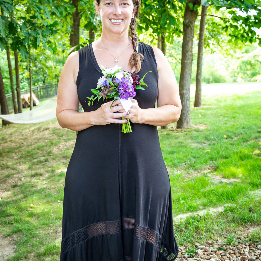 Maid of Honor Holding Bouquet
