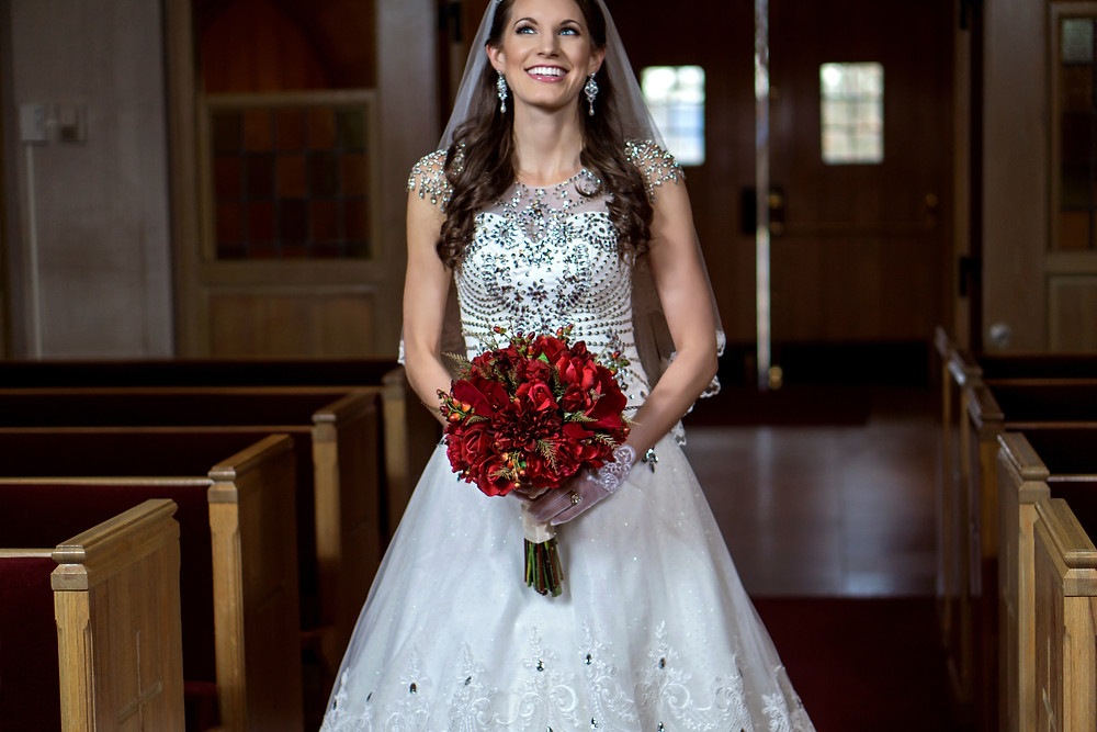 Smiling Bride Walks the Aisle