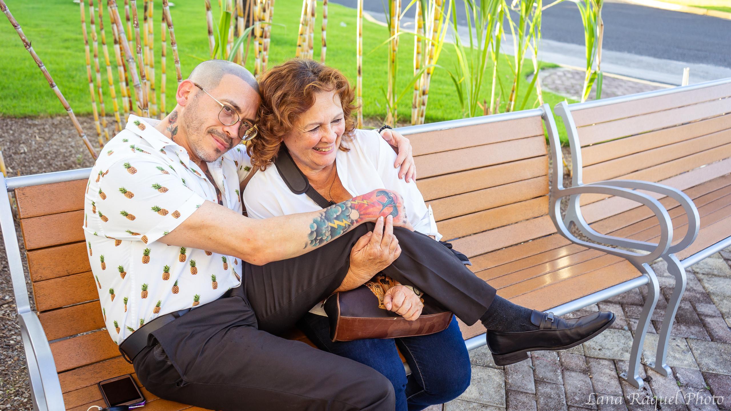 Son and Mom hug on vacation