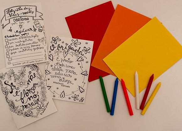 Trio de cartões para colorir