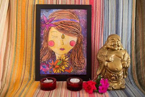 Menina Meditativa das Estrelas