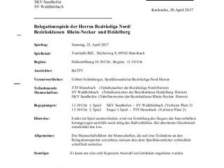 Relegationsspiele der 1.Tischtennismannschaft in Hemsbach