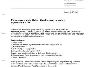 Einladung Abteilungsversammlung Gymnastik+Tanz