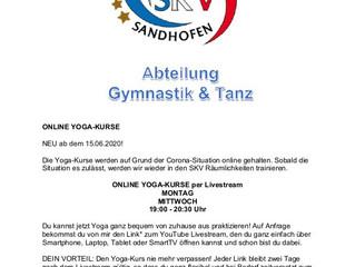 Yoga - Kurse jetzt auch online beim                  SKV Sandhofen