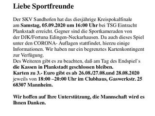 Kreispokalfinale mit dem SKV Sandhofen