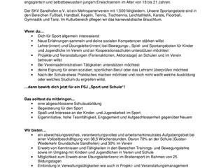 Wir suchen dich!!! Stellenausschreibung FSJ