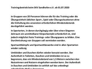 Wichtige Information zum Trainingsbetrieb