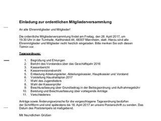 Einladung zur ersten Jahreshauptversammlung des SKV Sandhofen