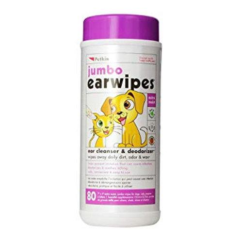 Petkin Jumbo Ear Wipes 80pk
