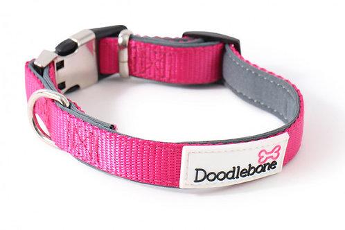 Doodlebone Bold Padded Dog Collar Pink