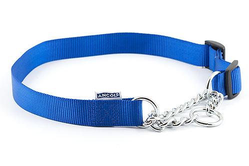 Ancol Nylon Half-Check Dog Collar Blue