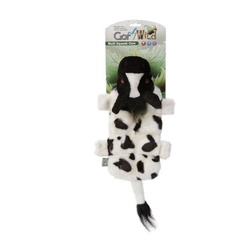Gor Wild Multi Squak Cow Plush Dog Toy
