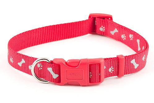 Ancol Paw & Bone Collar Red
