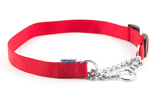 Ancol Nylon Half-Check Dog Collar Red