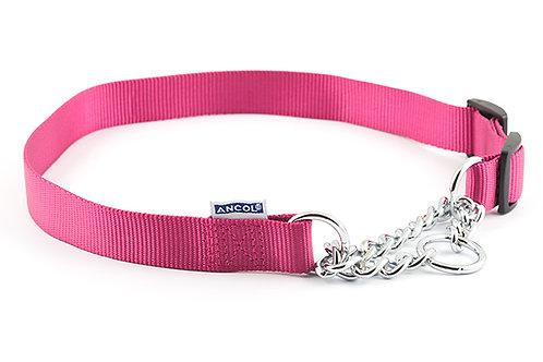 Ancol Nylon Half- Check Dog Collar Pink