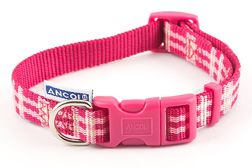 Ancol Candy Pink Check Dog Collar
