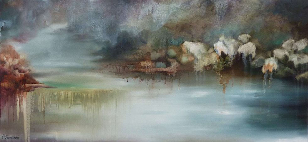נוף עם כבשים בצבעי פסטל