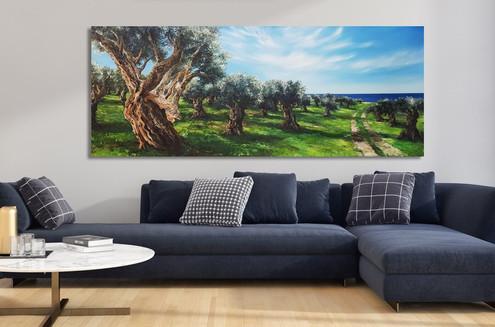 שדרת עצי זית  ציור שמן על קנבס, ניתן להזמין בכל גודל