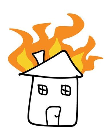 10443178-주택-화재-낙서-비극적-인-재해-보험-청구-개념-간단한-