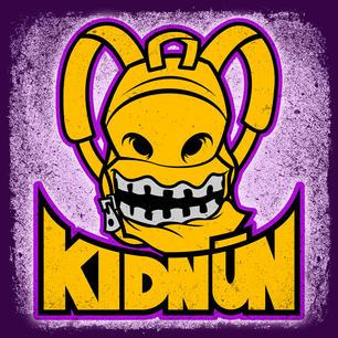 Kidnun logo - mascot and lettering - gri