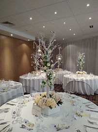Our Manzanita tree Table centrepieces at Macdonalds Resort in Aviemore