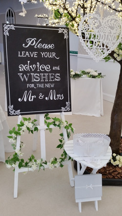 Cherry Blossom Wedding Wishes Tree Chalkboard and Easel