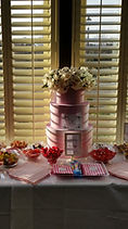 Luxury candy table with delicious candy and sweets