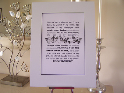 'Bacon to my Sarnie' personalised artwork
