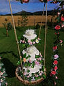 Wedding Cake Swing with faux wedding cakes