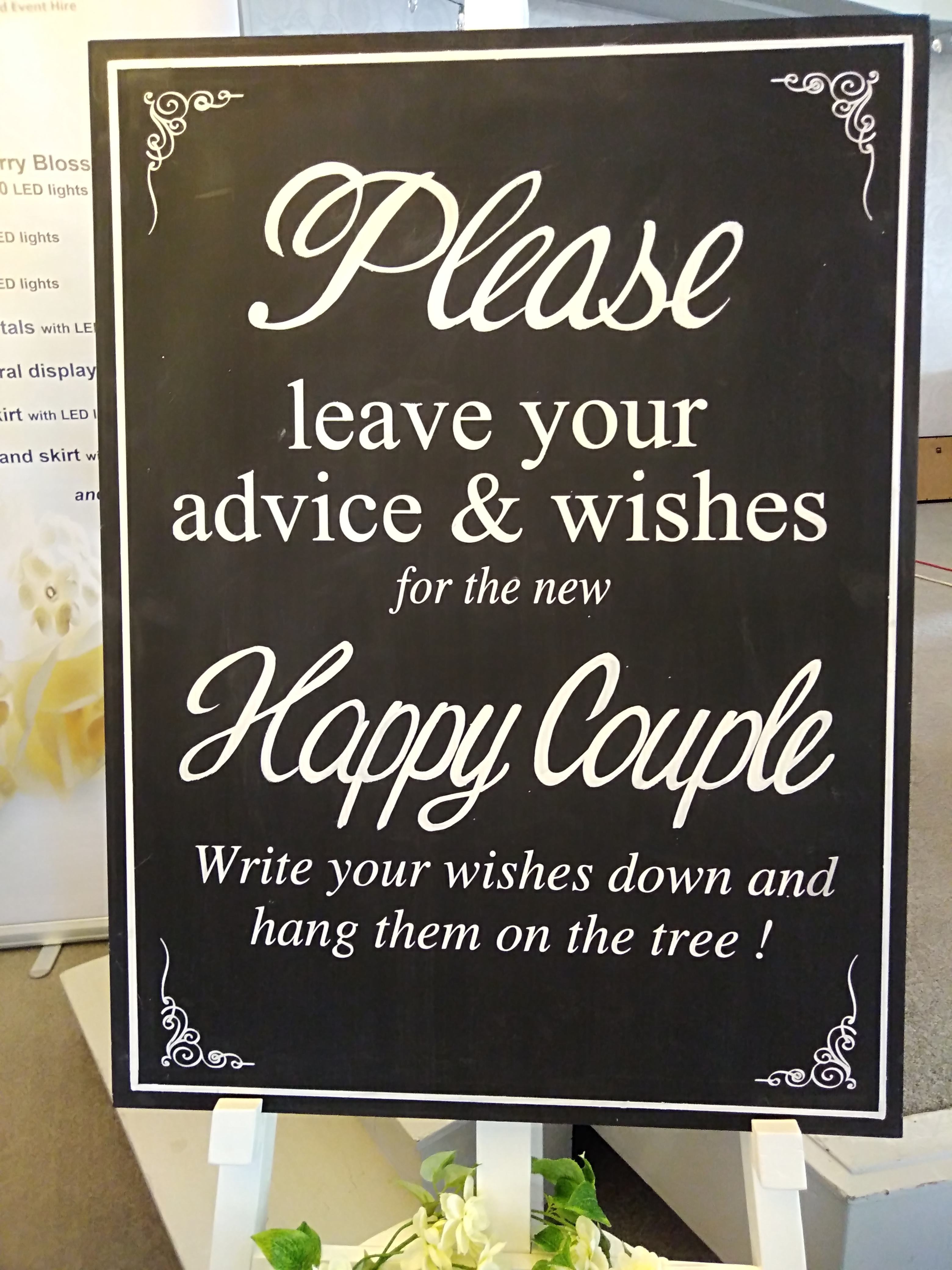 Happy Couple Blackboard sign for the 'We