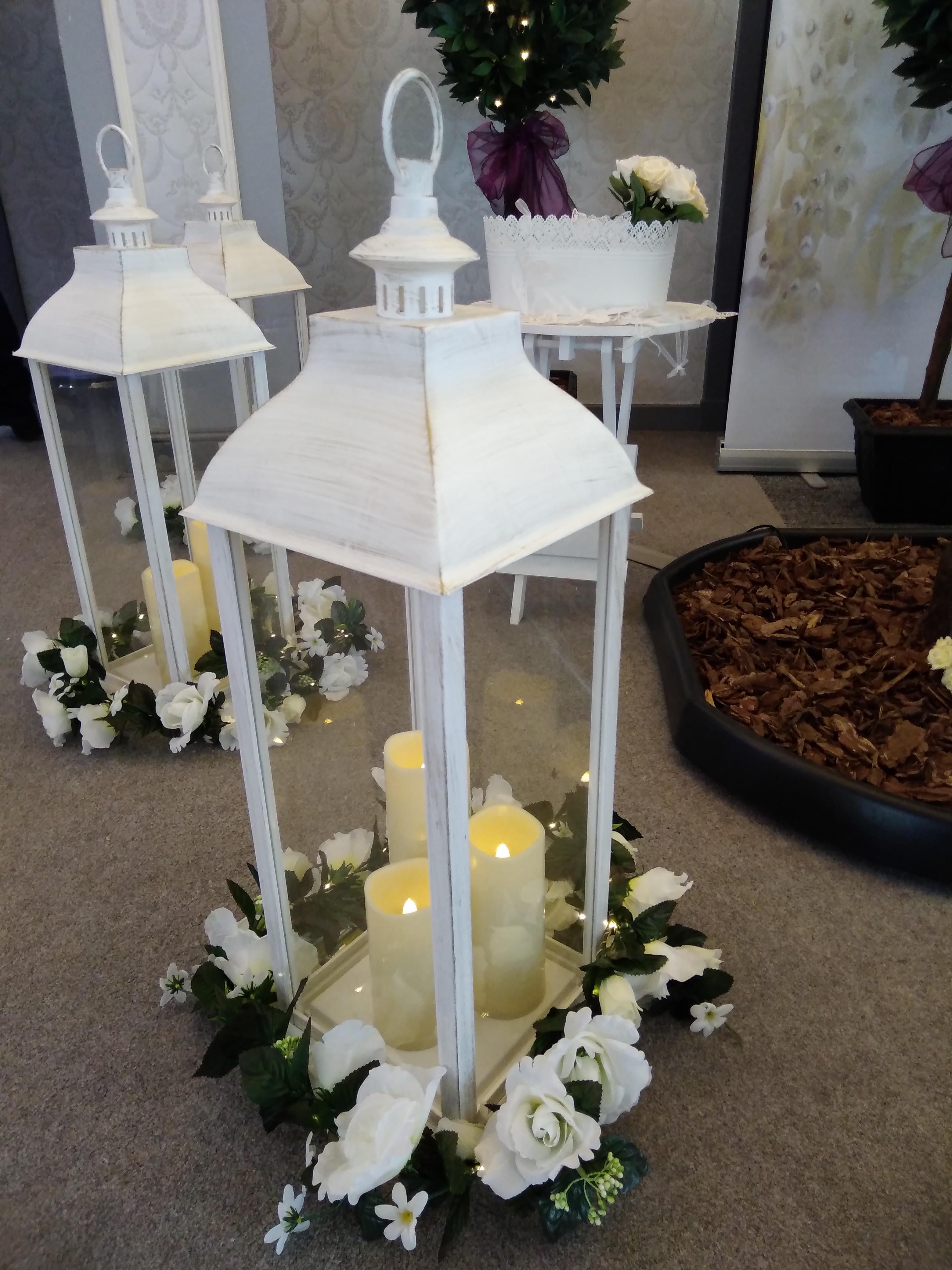 Wedding Lanterns with Rose Garlands at The Parsonage