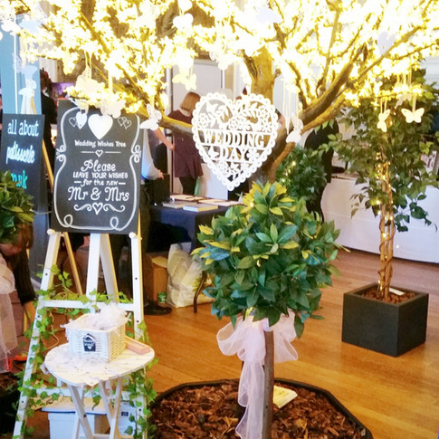 Bay Trees in front of our 'Wedding WIshes Tree'