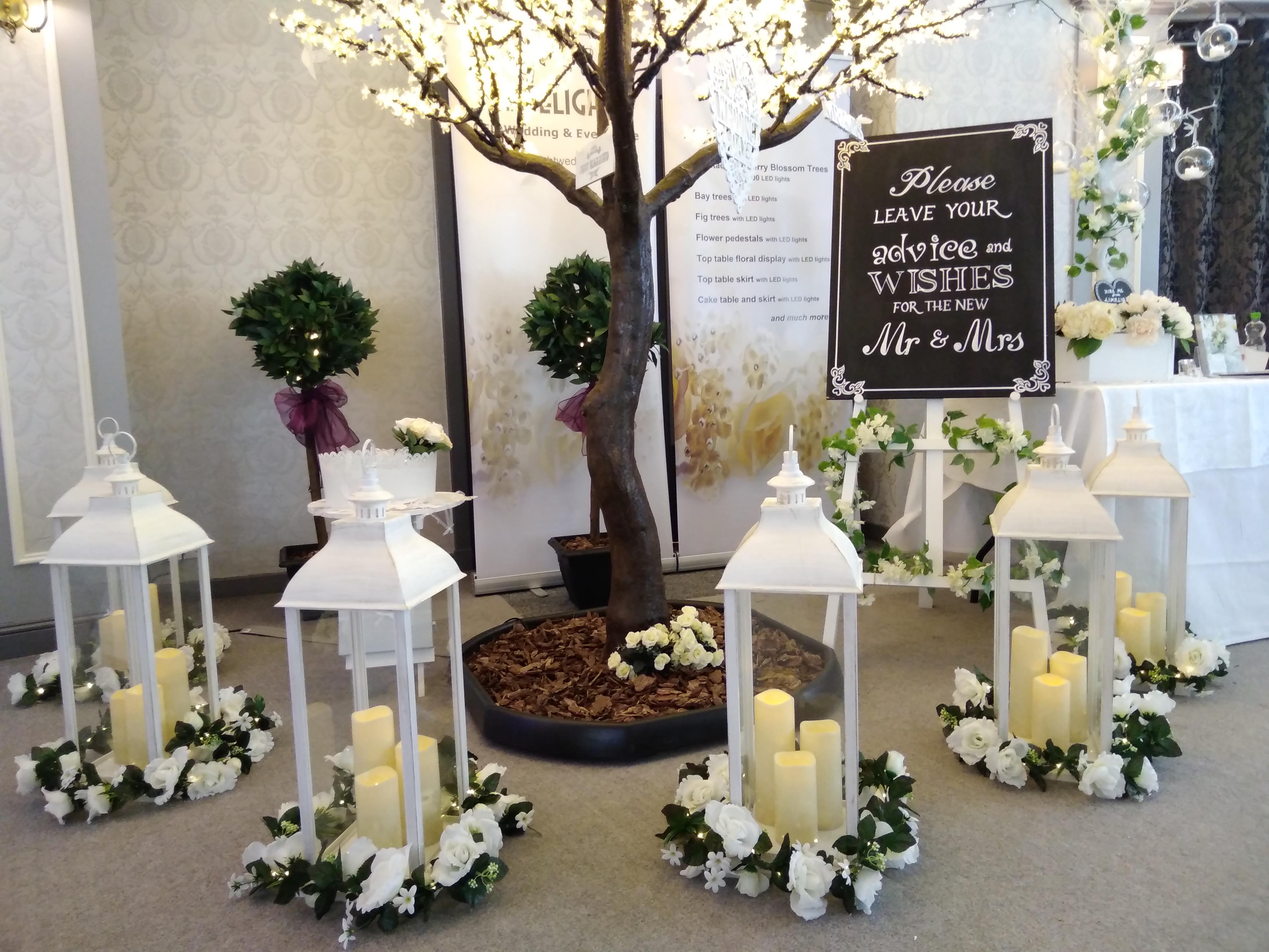 Wedding Lanterns with Rose Garlands arou