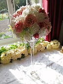 Tall Martini Glass with pink rose flower
