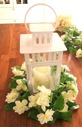 Rustic Log Slice Wedding Lantern Table Centrepiece