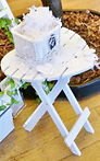 White, wooden ring table - ieal for placing your wedding ring pillow and flowers