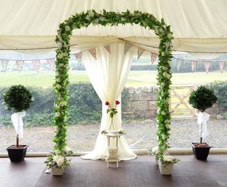 Wedding Archway with white heart table
