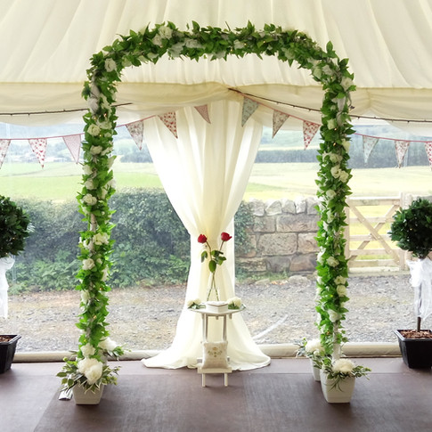 Wedding Archway with bay trees