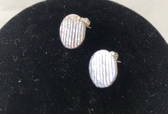 Striped Stud Earrings-Sterling Silver