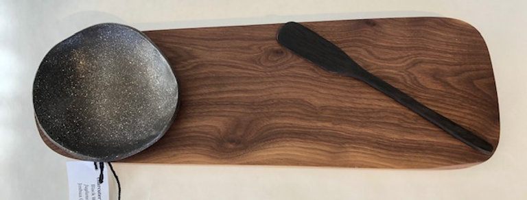 Walnut Charcuterie Board with Mica Bowl with African Blackwood Spreader