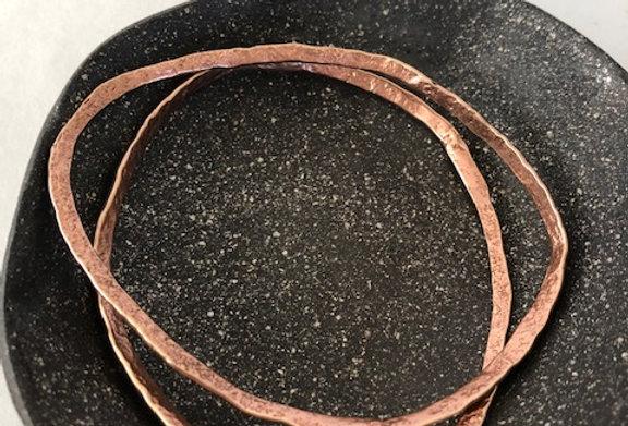 Wavy Hammered Bangle-Copper Bronze