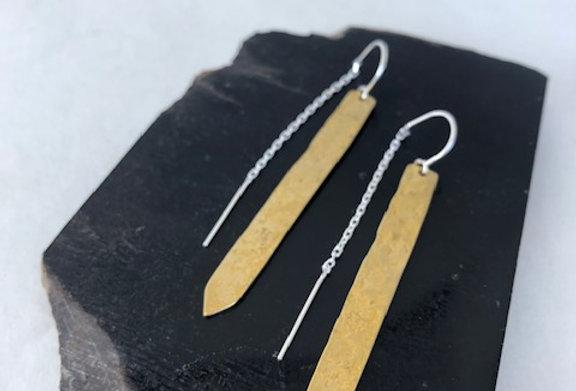 Arrow Earrings-Yellow Bronze