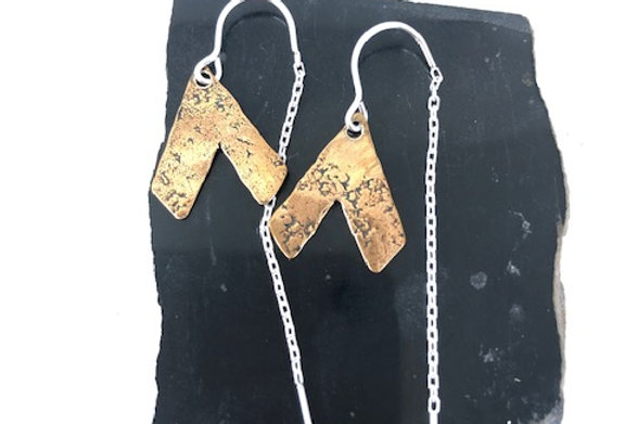 Hammered Mountain Earrings -Yellow Bronze