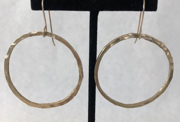Hammered Circle Earrings- Yellow Bronze