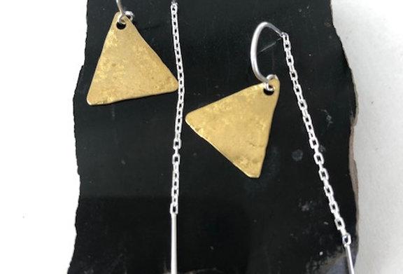 Triangle Earrings Yellow Bronze