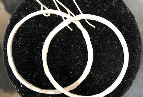 Hammered Circle Earrings-Silver