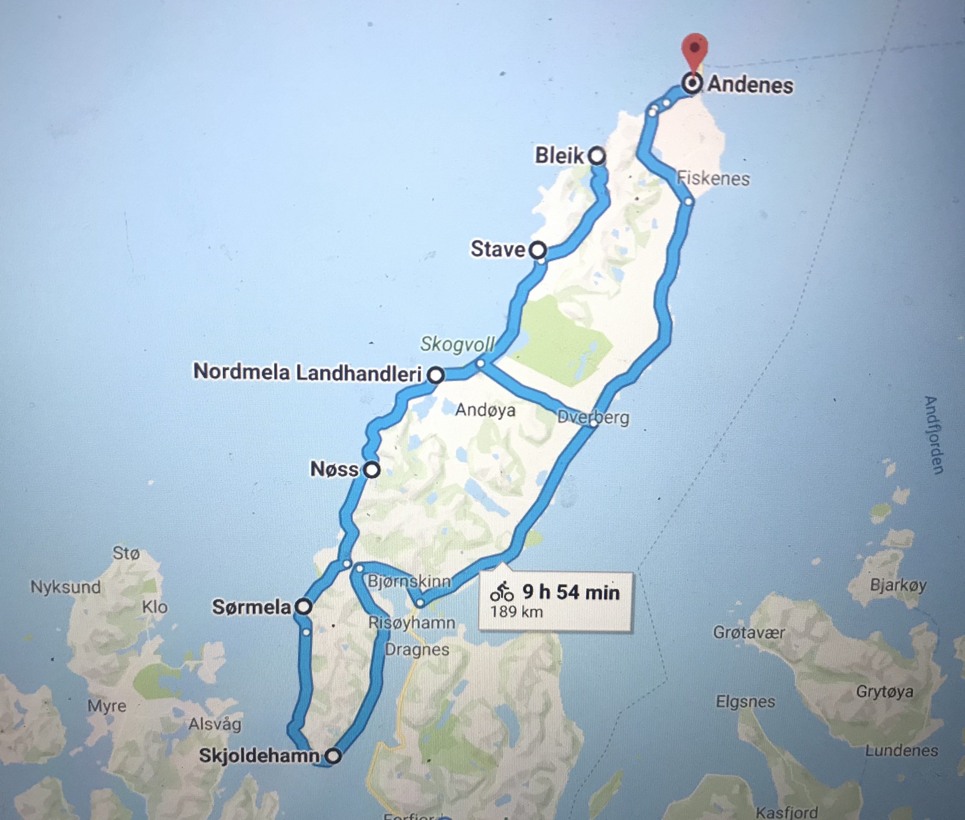 Cycling map for Andøya