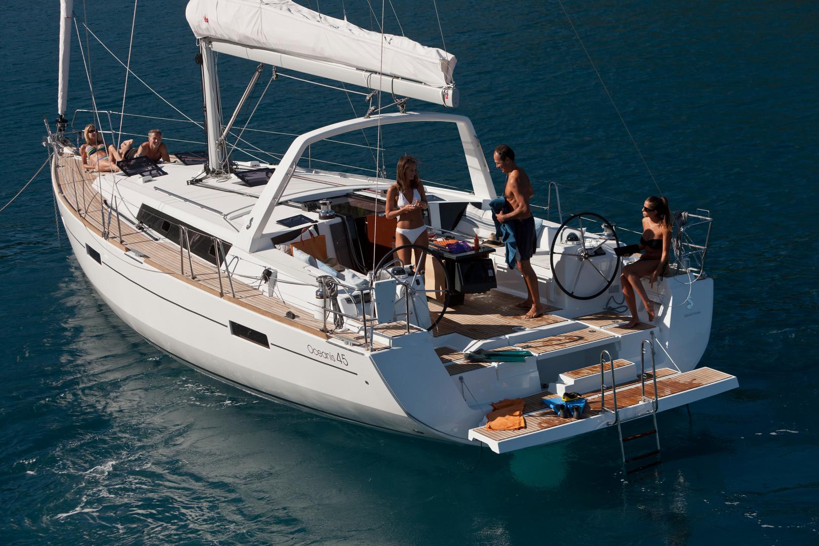 Above deck: Back of boat