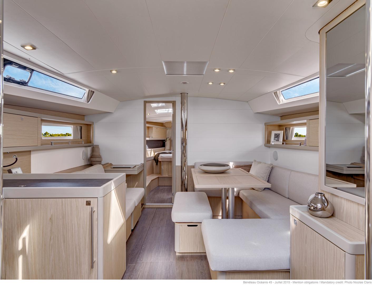 """Below deck: View into """"living room"""""""