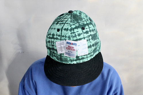 Tags hand-stitched cap - green tie-dye with black flat brim